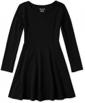 The Children's Place Girls' Big Solid Long Sleeve Pleated Knit Dress
