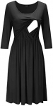 OUGES Womens Solid/Floral Maternity Dresses Nursing Gown Breastfeeding Clothes
