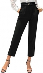 GRACE KARIN Womens Pencil Pants with Belt Casual High Waist Cropped Pants with Pockets