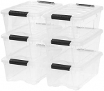 IRIS USA TB-42 12 Quart Stack & Pull Box, Clear, 6 Stack and pull