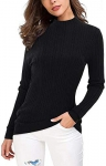 OUGES Women's Lightweight Stretchy Long Sleeve Pullover Cable Knit Mock Turtleneck Sweater