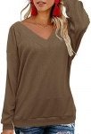 OUGES Womens Tie Back Knit Tops V Neck Long Sleeve Casual Sweater Pullover